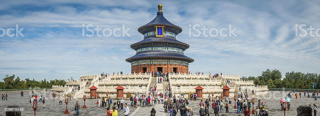 China crowds of tourists visiting Temple of Heaven pagoda Beijing stock photo