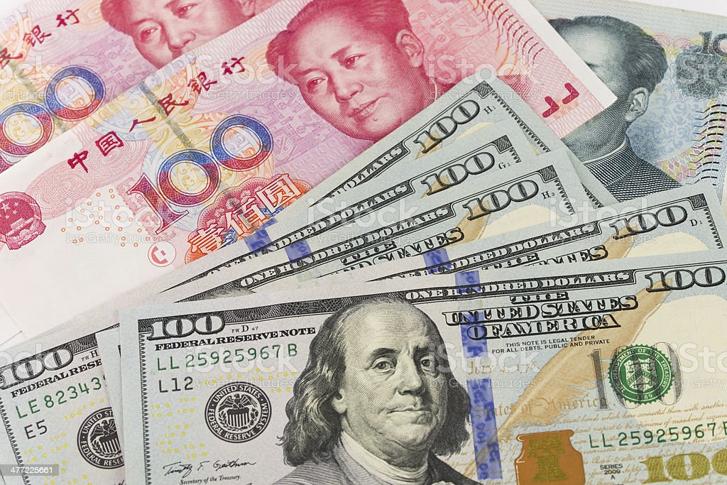 US China currency stock photo
