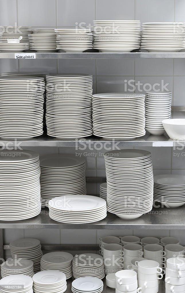 china dishware in restaurant storage room XXXL image stock photo