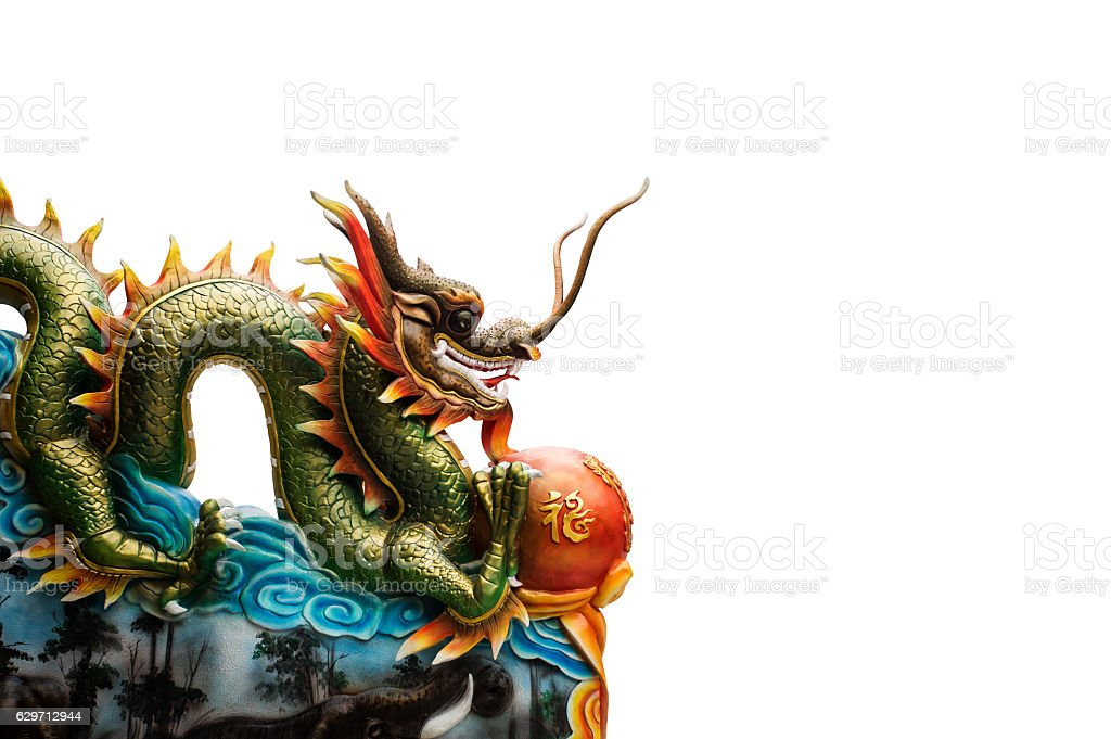 China dragon statue on the red background stock photo