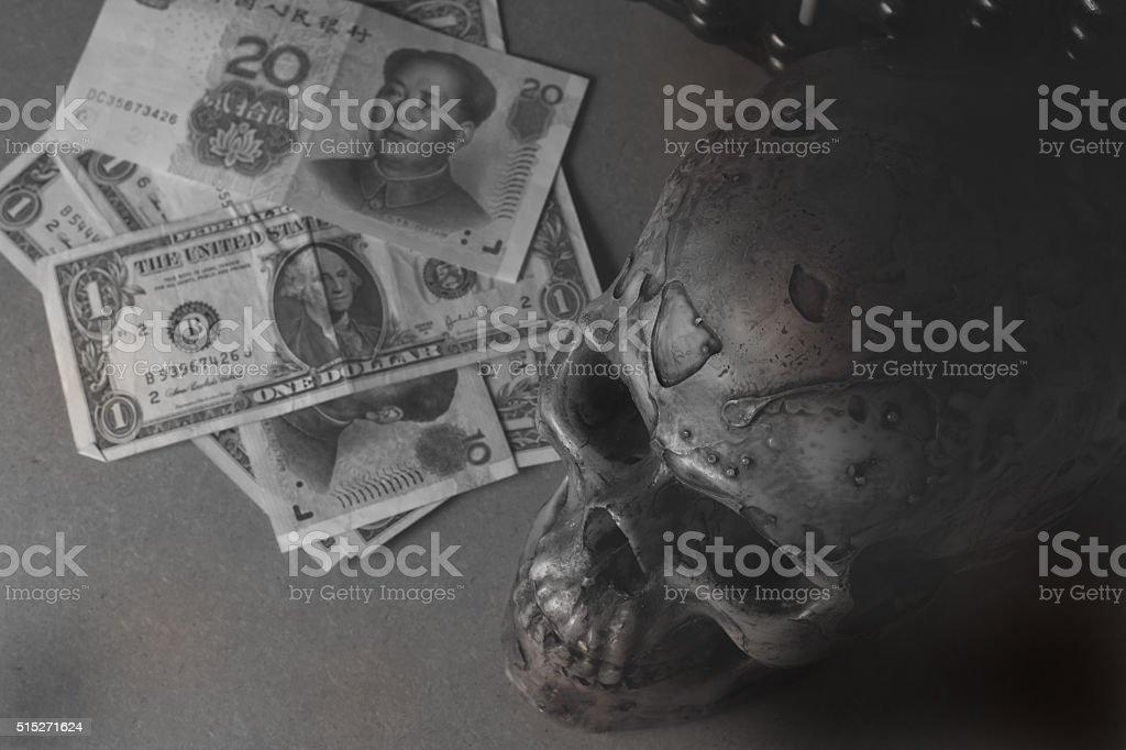 China economic crisis monochrome concept stock photo