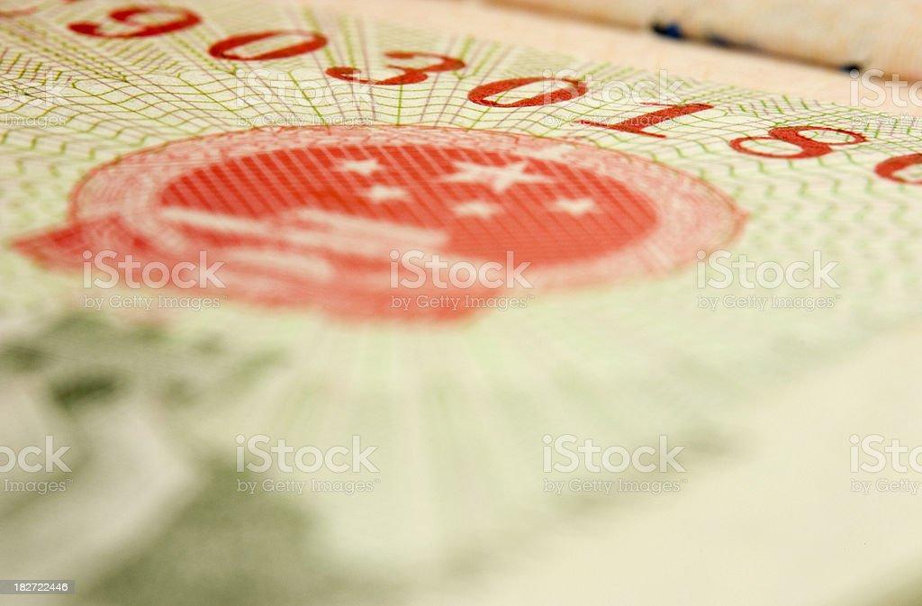 China Entry Visa: Close Up stock photo