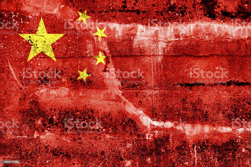 China Flag painted on grunge wall royalty-free stock photo