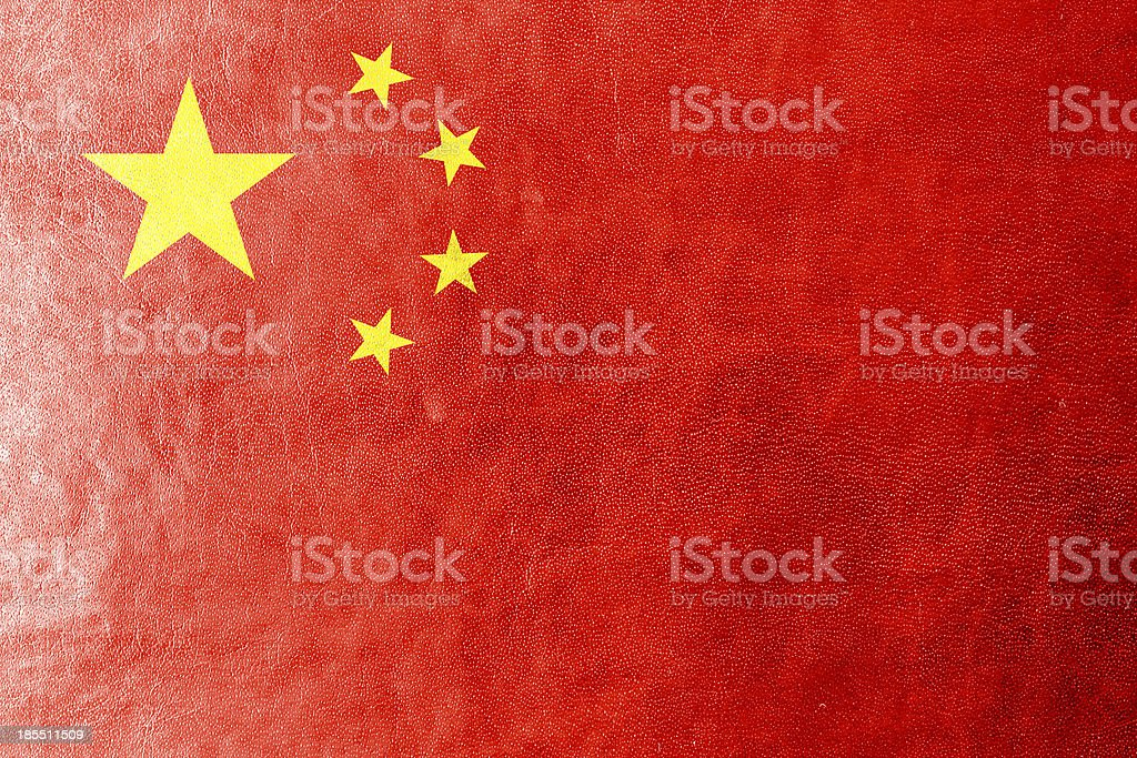 China Flag painted on leather texture royalty-free stock photo