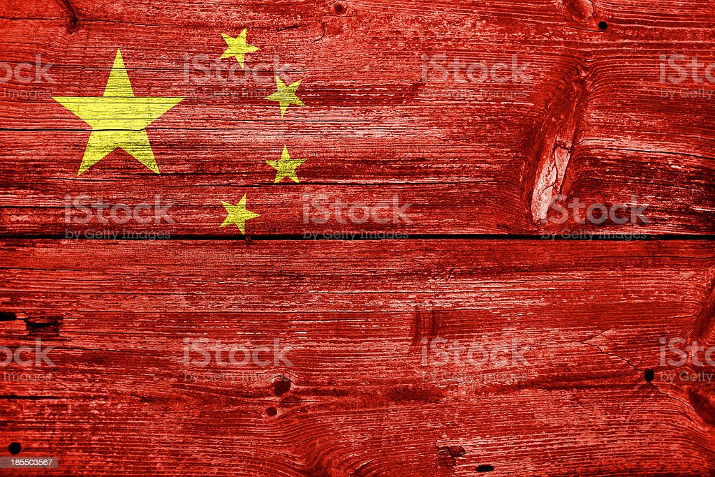 China Flag painted on old wood plank texture royalty-free stock photo