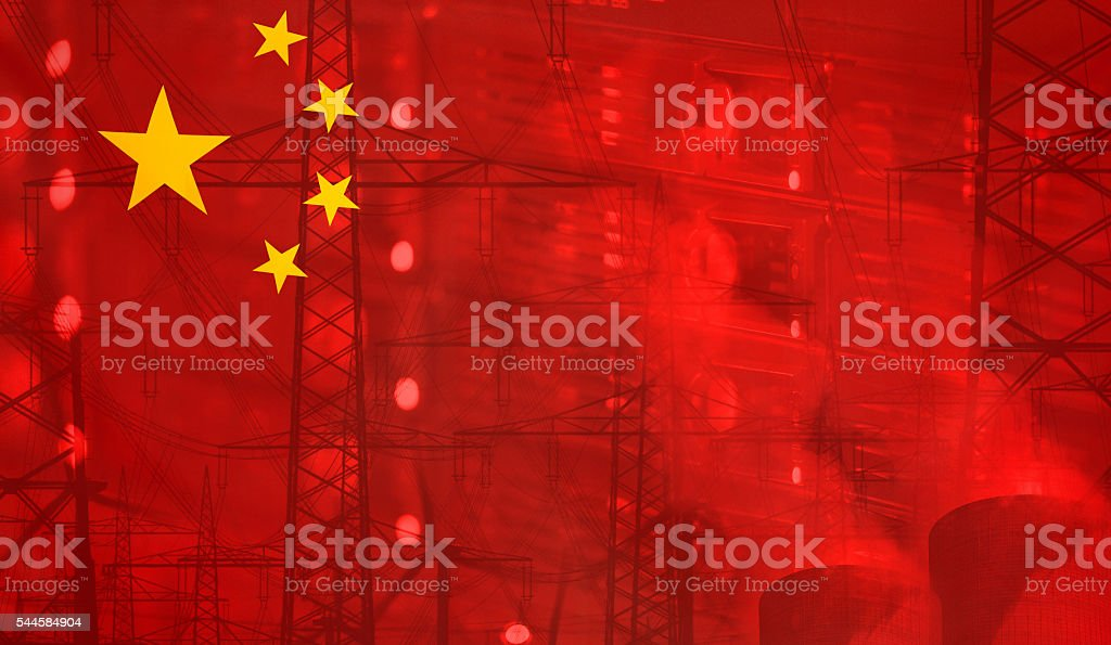 China Flag Technology Environment Concept stock photo