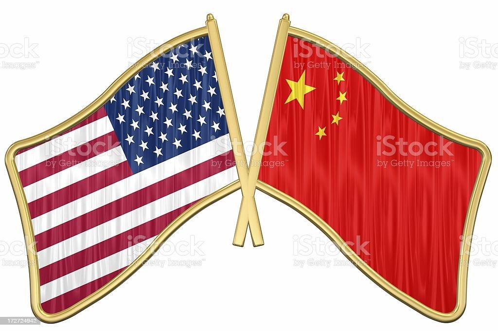 US China Friendship Flag Pin stock photo