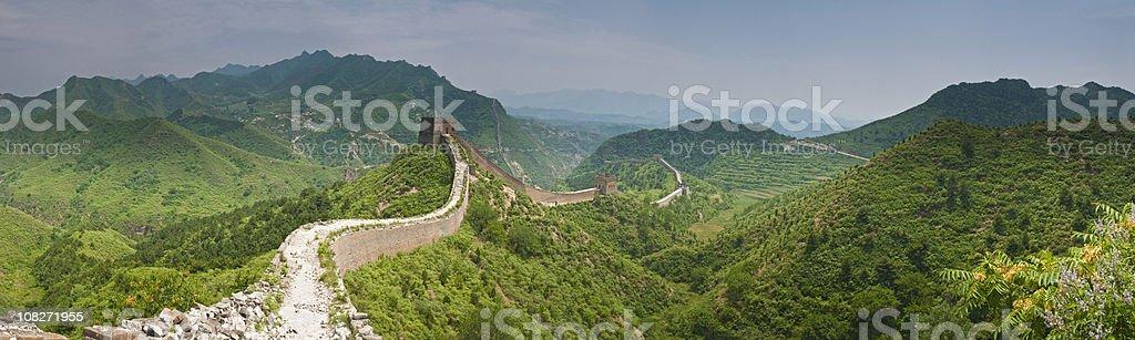 China Great Wall green mountain panorama stock photo