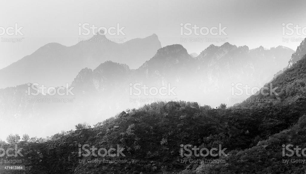 China Great Wall mountain ranges stock photo