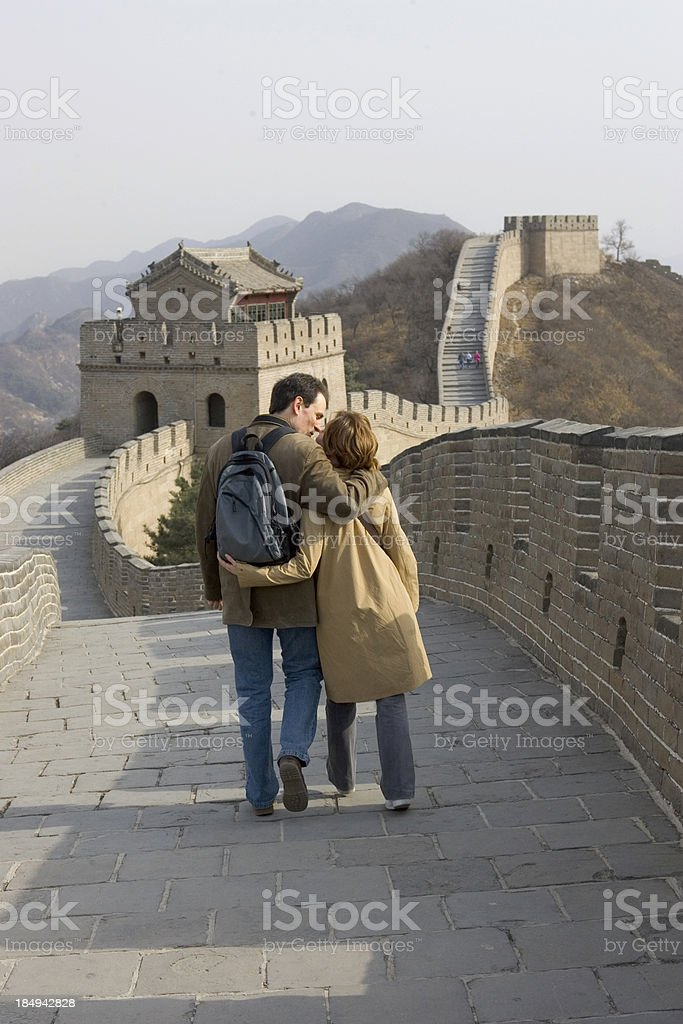 China Great Wall - Young Couple royalty-free stock photo