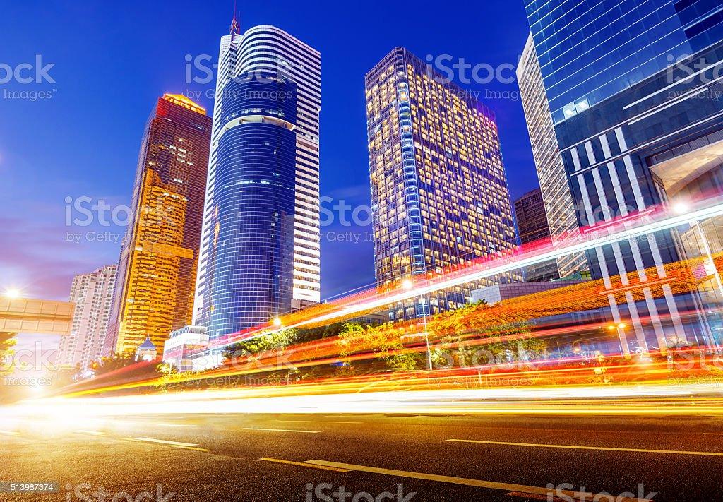 China Guangzhou city night stock photo