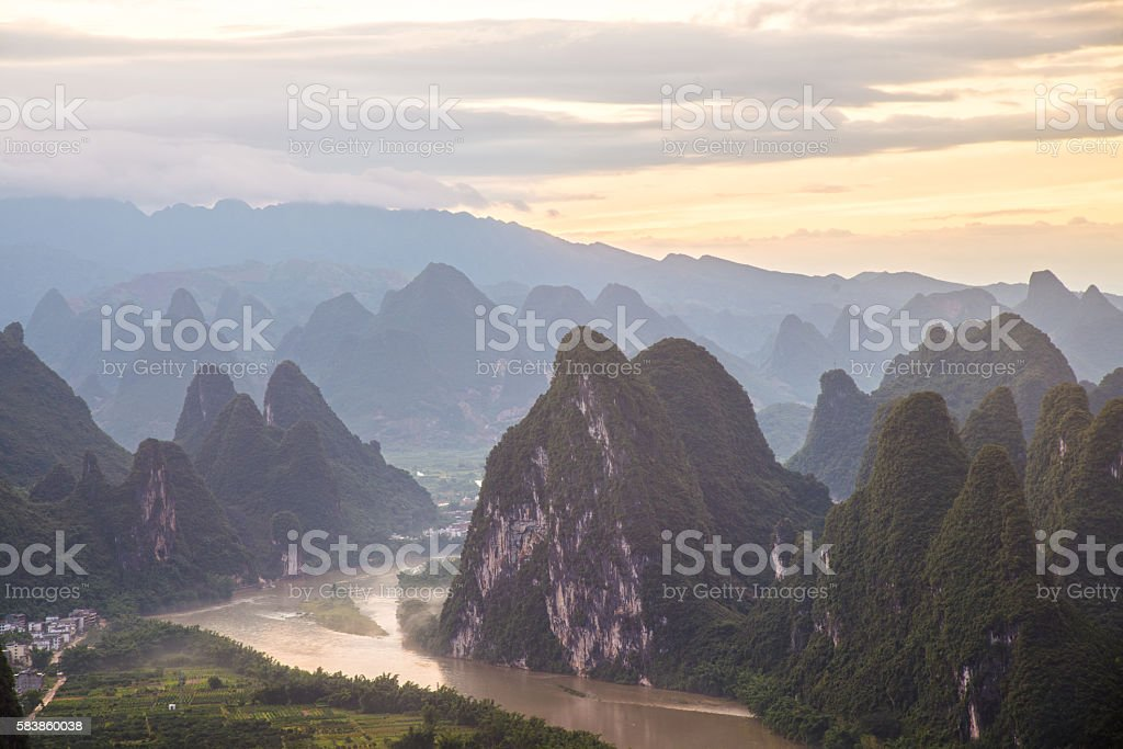 China Guilin Mountains landscape stock photo