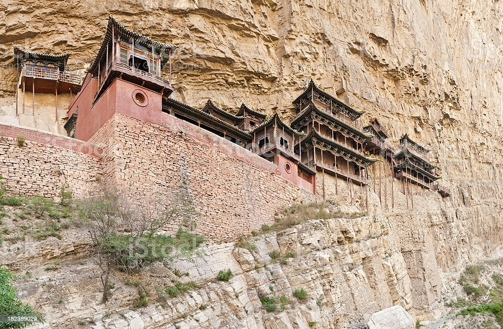 China Hanging Temples Datong Silk Road ancient buddhist shrine cliffs stock photo