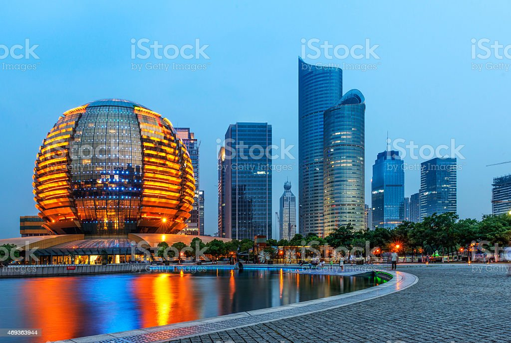 China Hangzhou skyscrapers, night landscape. stock photo