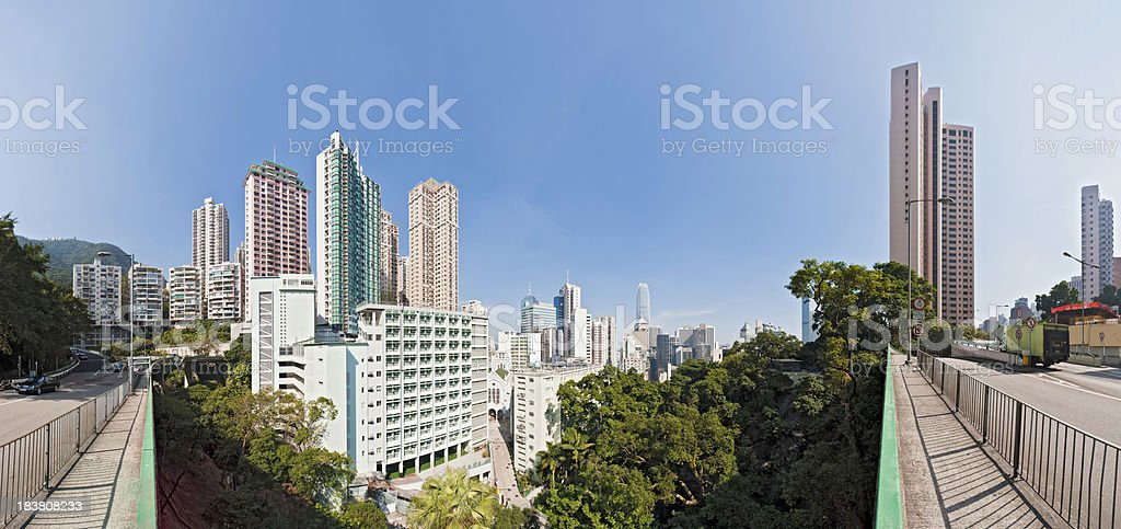 China highrises crowded skyscrapers cityscape apartment buildings panorama Hong Kong stock photo