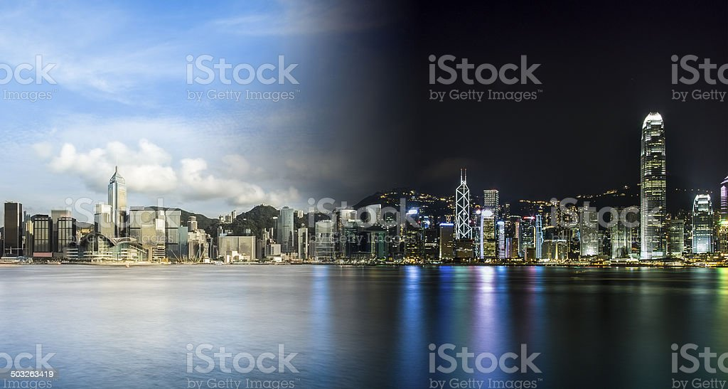 China Hong Kong Day and Night stock photo
