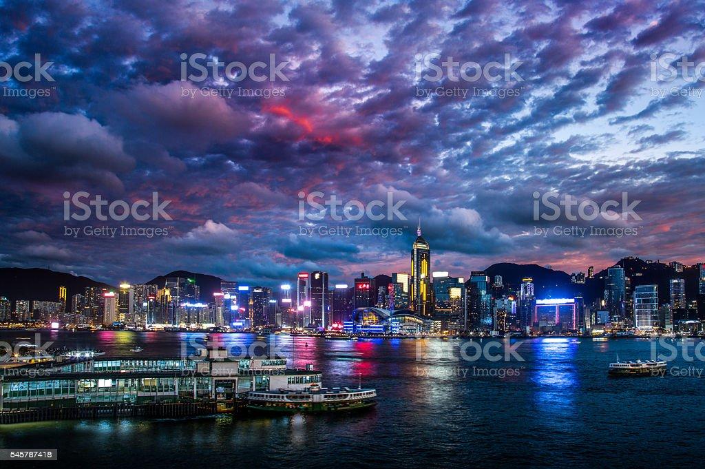 China Hong Kong Victoria harbor evening stock photo