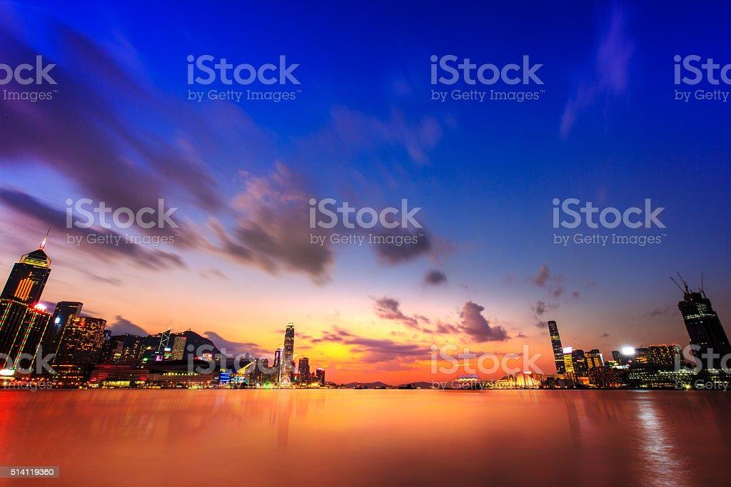 China Hong Kong Victoria harbor sunset stock photo
