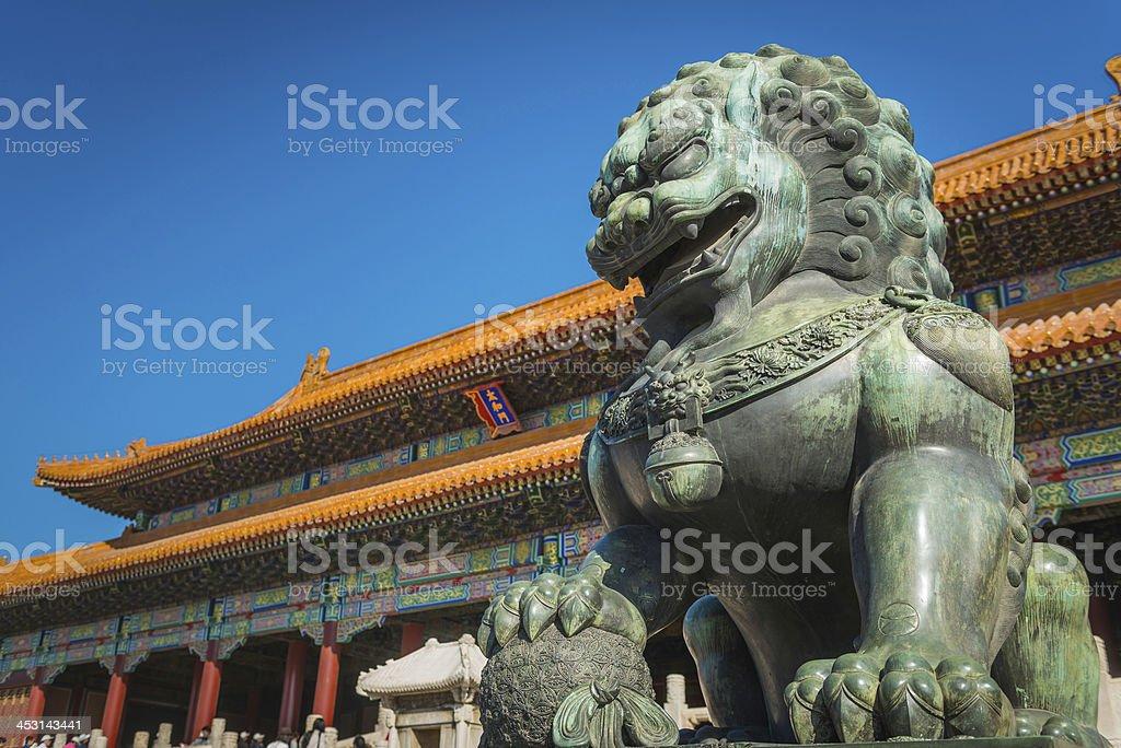 China Imperial Lion Forbidden City iconic pagoda landmark Beijing stock photo