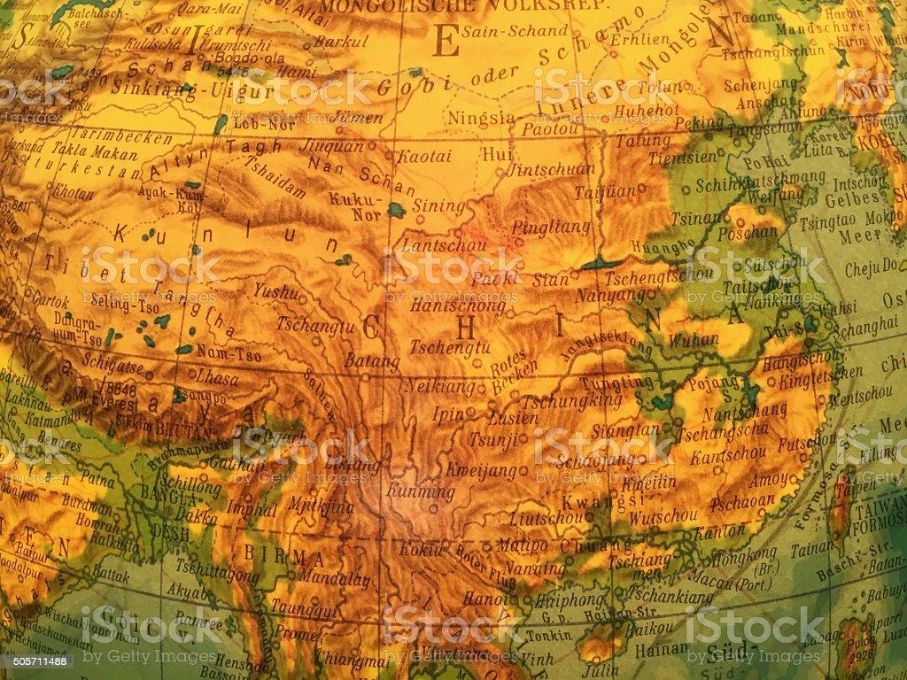 China Karte - Alter Globus / Weltkarte stock photo