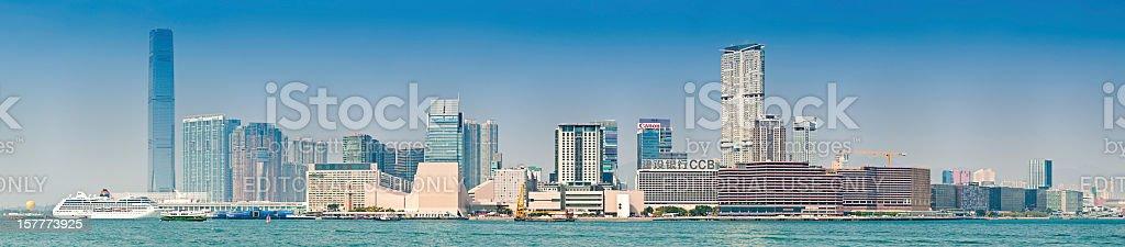China Kowloon waterfront panorama Hong Kong Harbour stock photo
