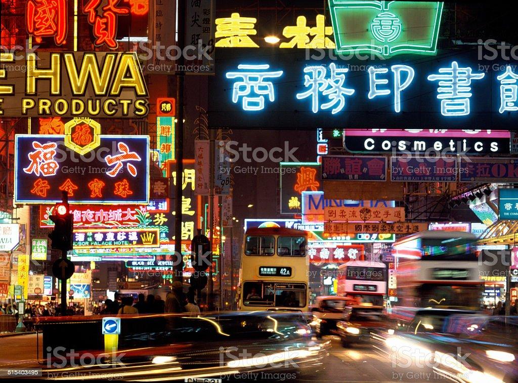 China neon signs night buses Hong Kong stock photo