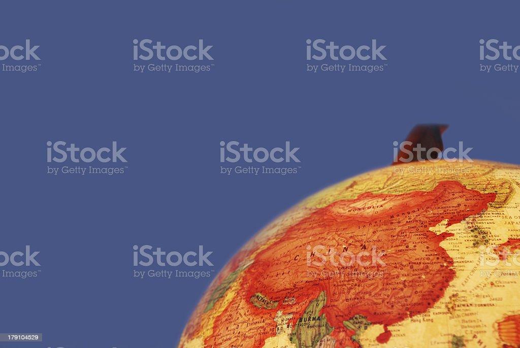 china on glowing globe stock photo