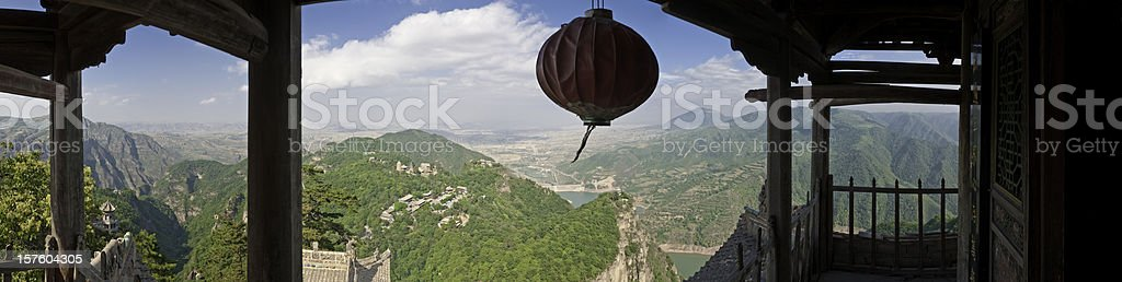 China pagoda lantern sacred Taoist temple mountain panorama Kontong Gansu royalty-free stock photo