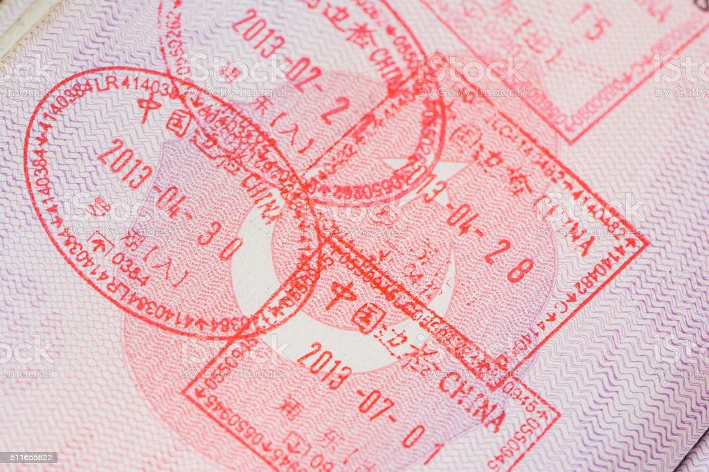 China Passport Stamps stock photo