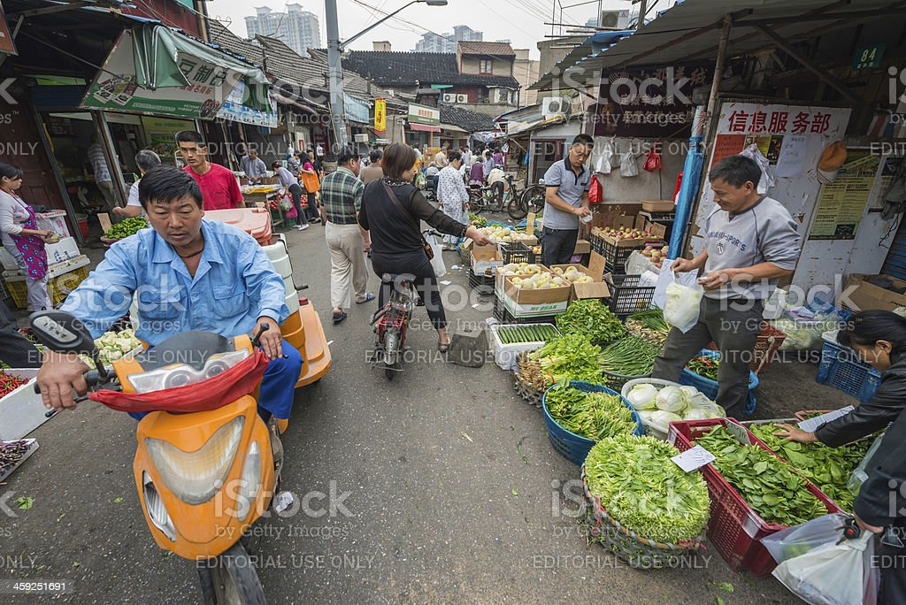 China people in crowded street market Shanghai royalty-free stock photo