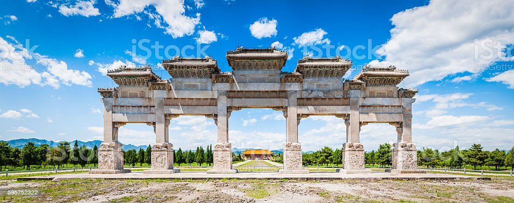 China Qing Dynasty marble mountain gate landmark panorama outside Beijing stock photo