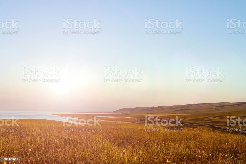 China Qinghai lake sunset stock photo