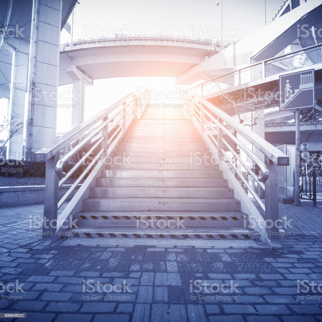 China Shanghai Lujiazui financial district skyscrapers and pedestrian viaduct. stock photo