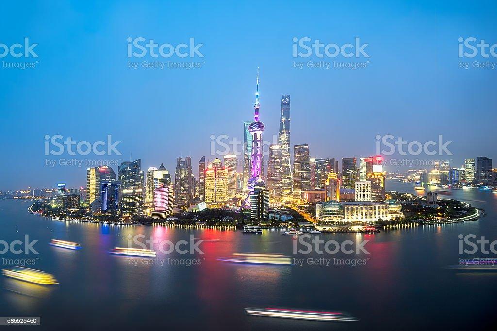 China Shanghai Panorama from sky stock photo
