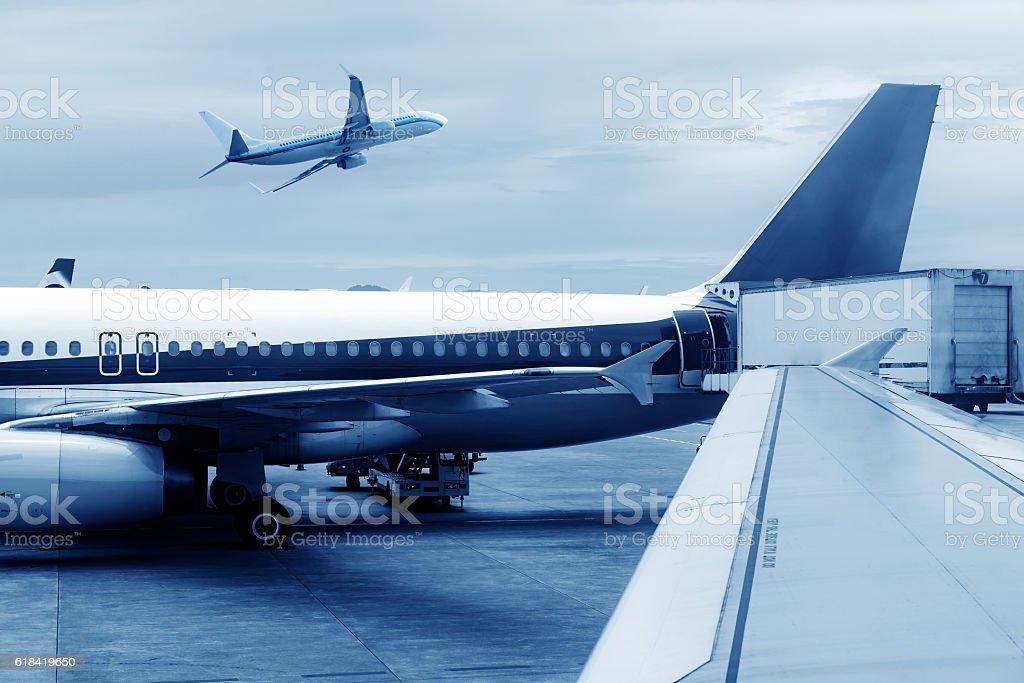 China Shanghai Pudong Airport's aircraft stock photo