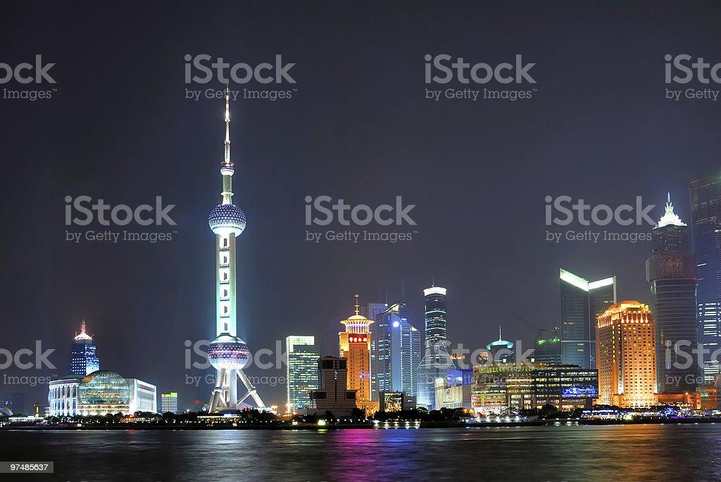 China Shanghai Pudong night skyline royalty-free stock photo