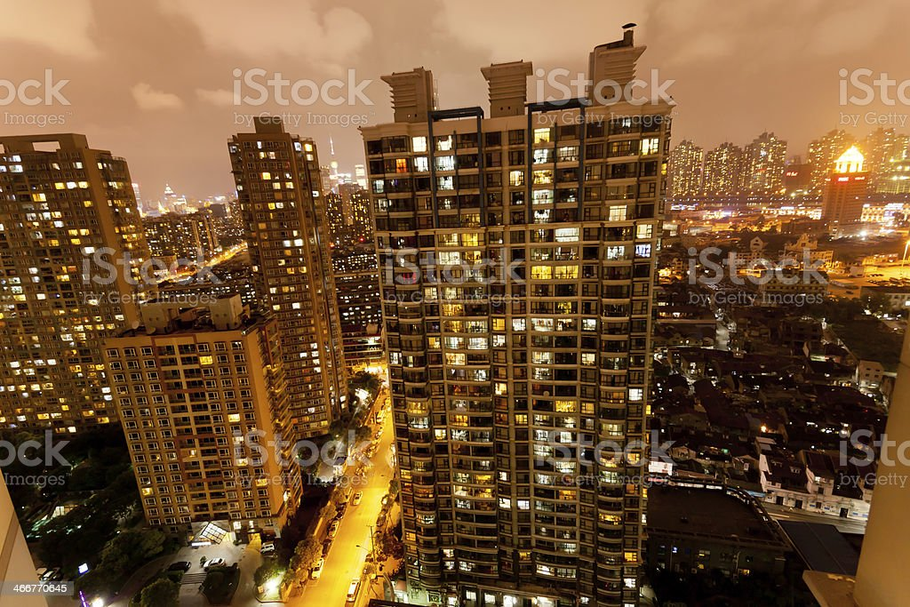 China Shanghai residential building at night stock photo