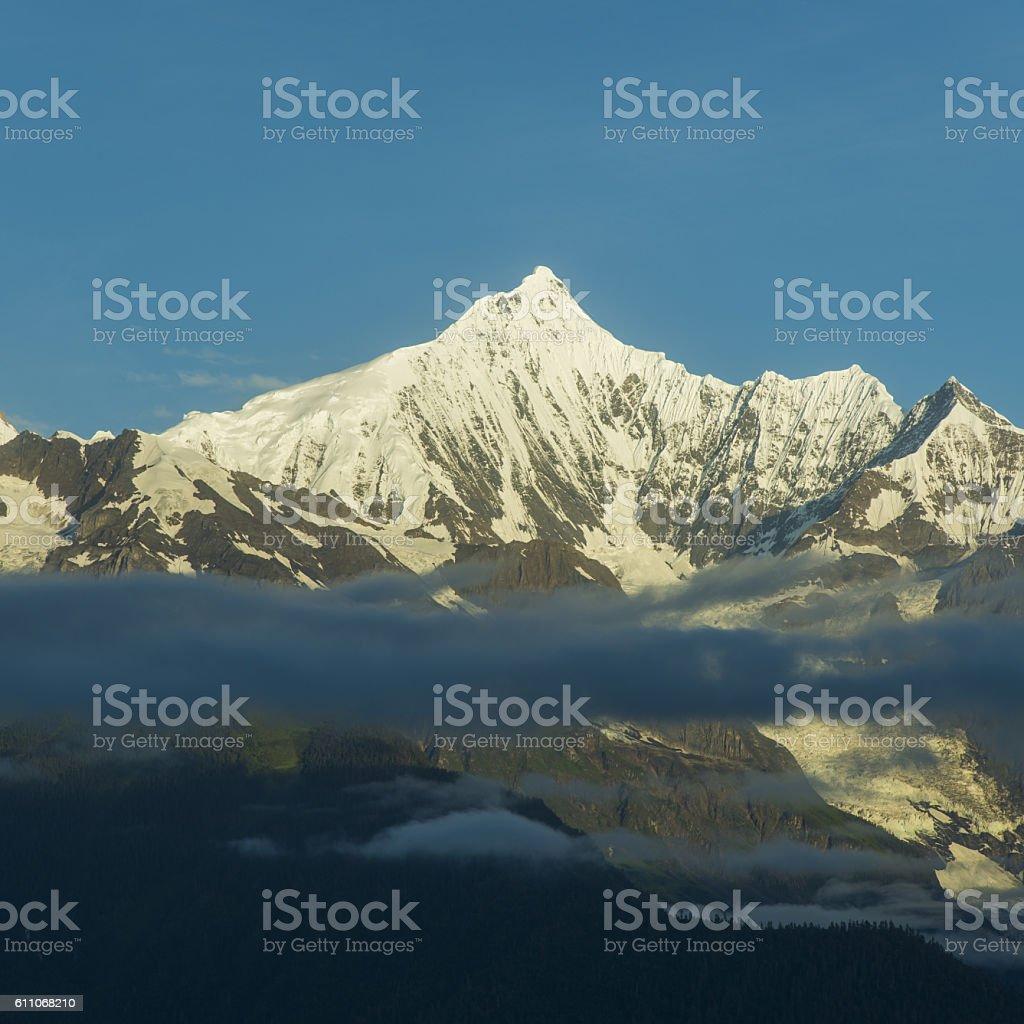 China Shangri-La, Meili Snow Mountain, Sunrise. stock photo