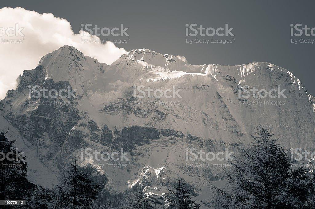 China Shangri-La Xian Nairi snow-capped mountains stock photo