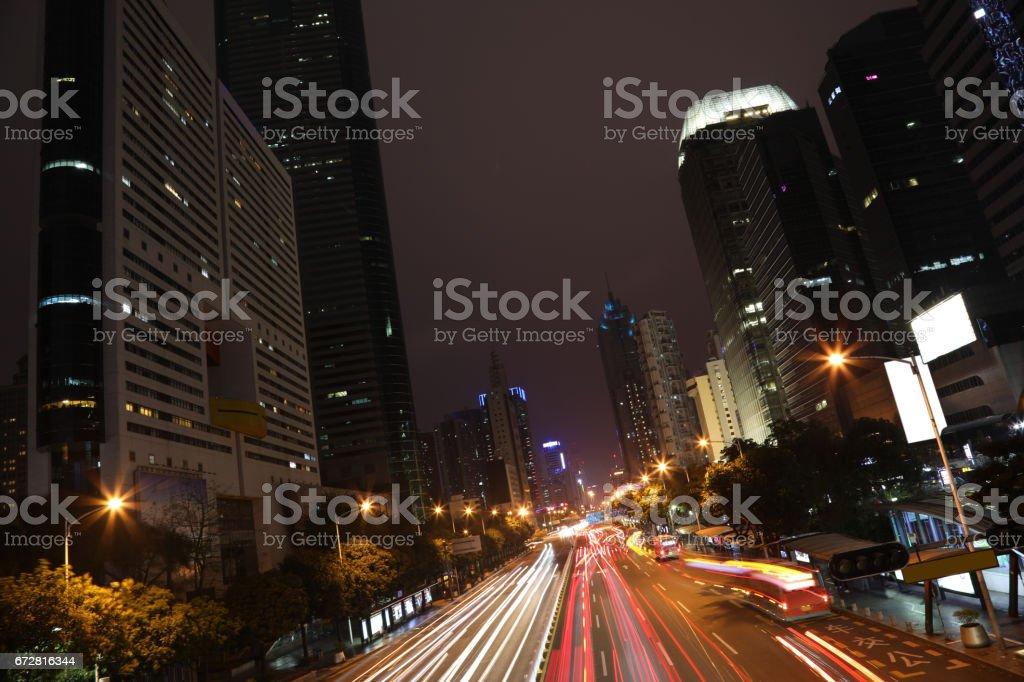 China Shenzhen future modern building night view stock photo