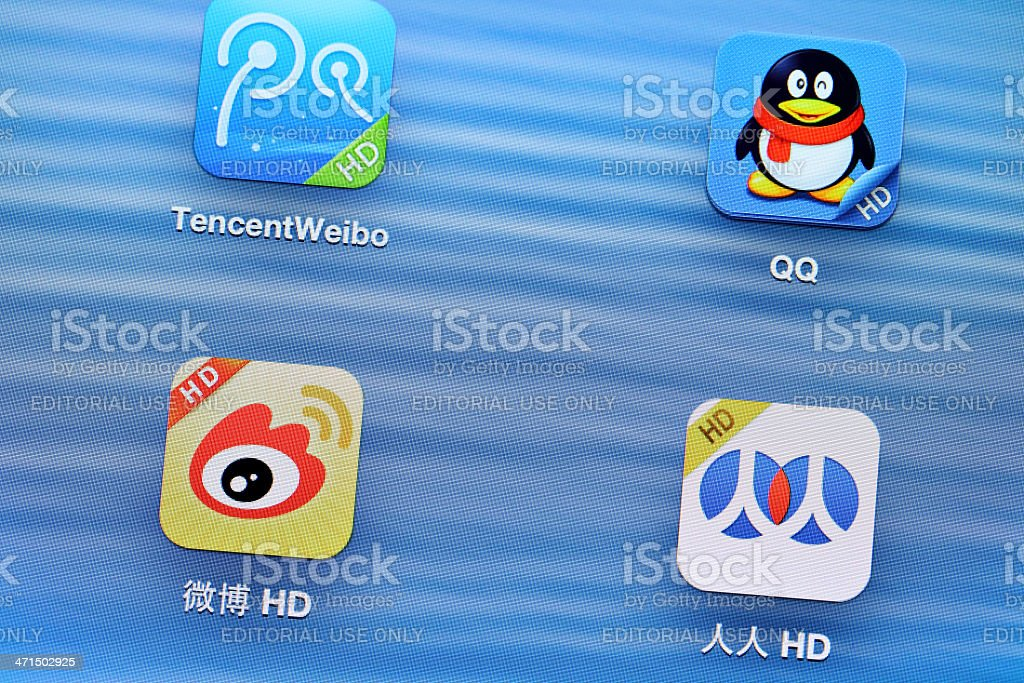 China social media mobile application on tablet royalty-free stock photo