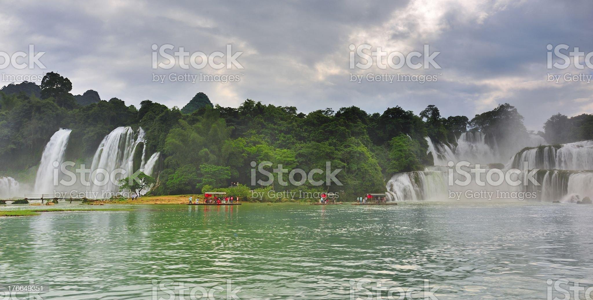 China Tak Tin(Detian)Waterfall panorama royalty-free stock photo
