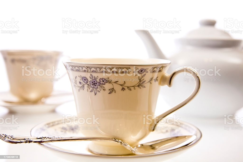 China tea cup and pot. Antique dishes. Spoon. Elegance. royalty-free stock photo