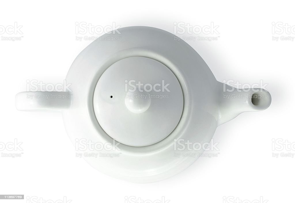 china tea pot isolated on white with clipping path stock photo