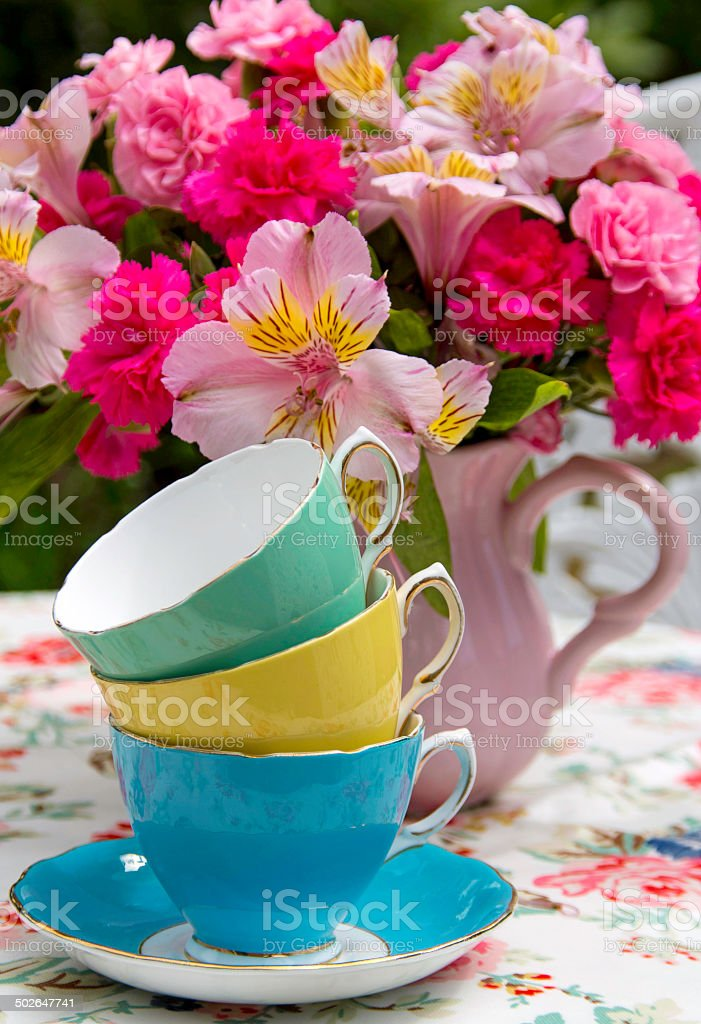 China Teacups and Afternoon Tea stock photo
