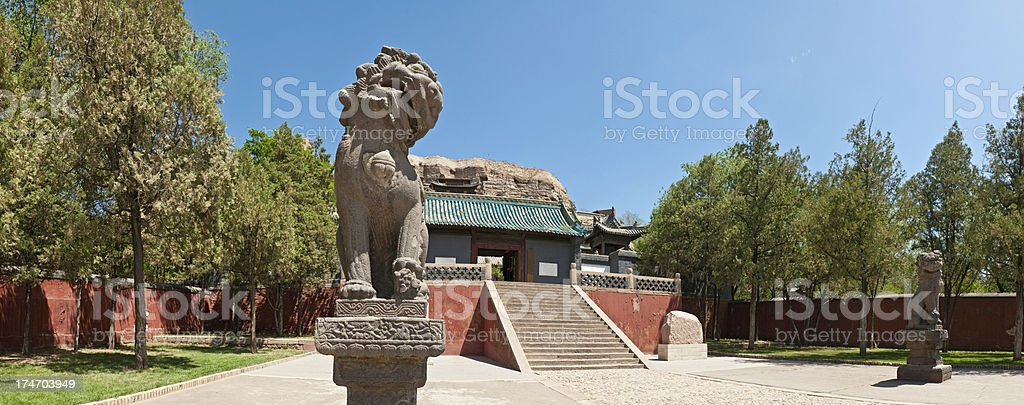 China temple gate Imperial Lions panorama stock photo