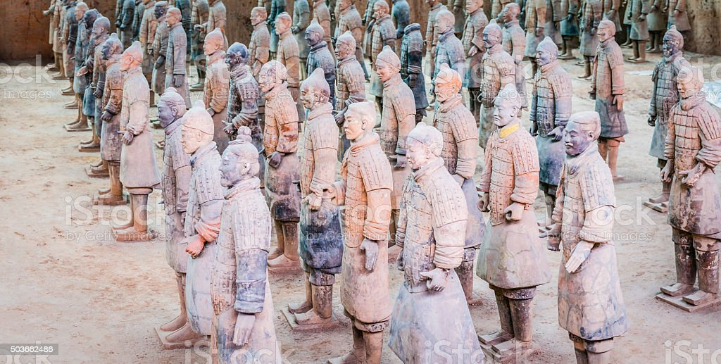 China Terracotta Army ancient warriors guarding Emperor at Xi'an stock photo