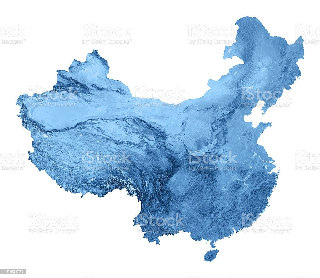 China Topographic Map Isolated stock photo