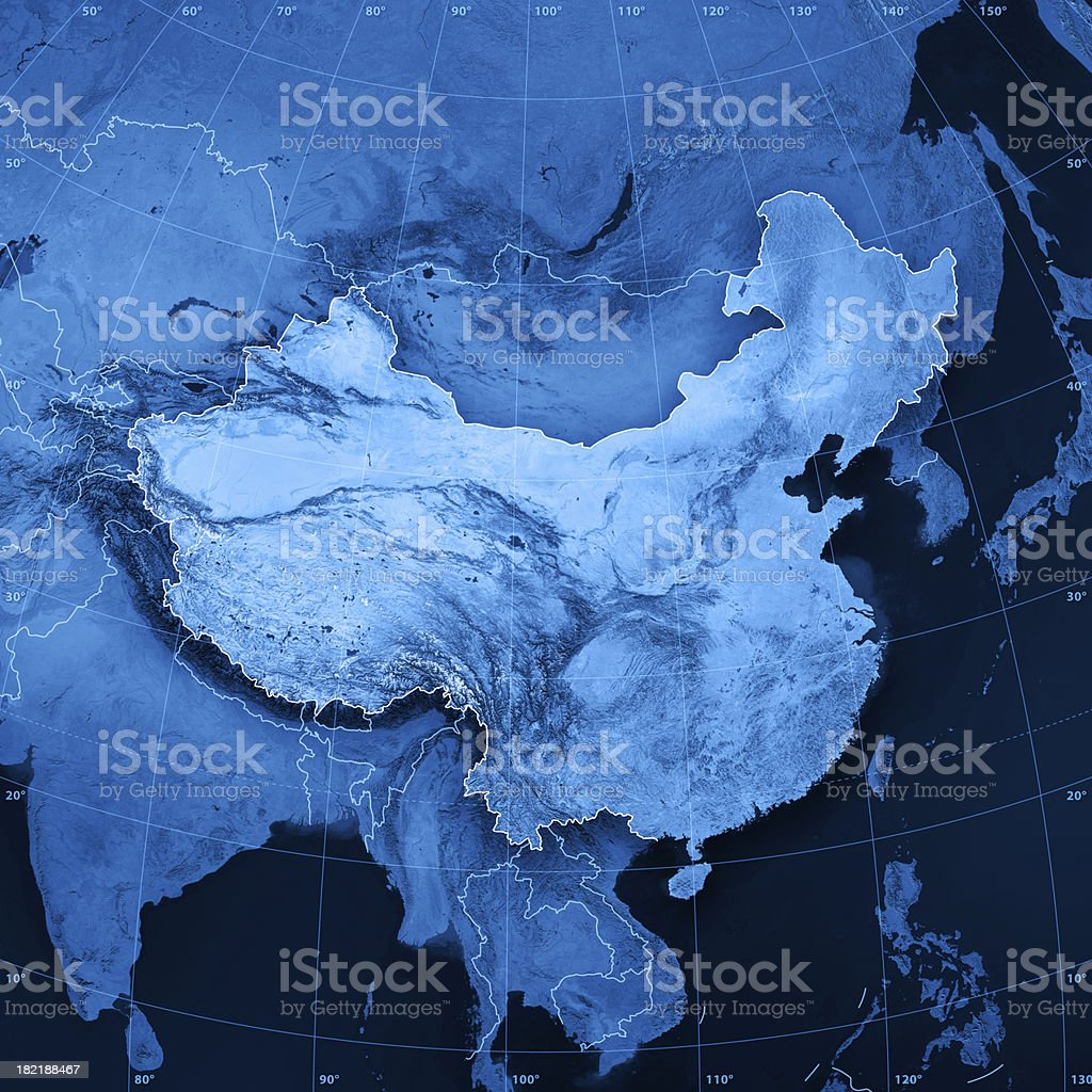 China Topographic Map royalty-free stock photo