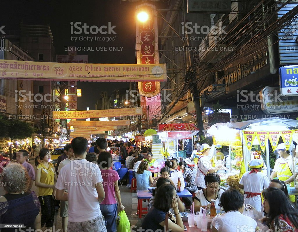 China Town during Vegetarian Festival, Bangkok, Thailand royalty-free stock photo